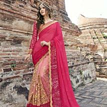 Georgette Peach and Beige Festive Saree: Apparel Gifts