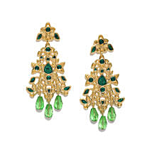 Gold And Green Floral Earrings: Jewellery Gifts