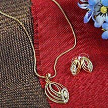 Gold Plated Pendant N Earrings Set: Jewellery Gifts