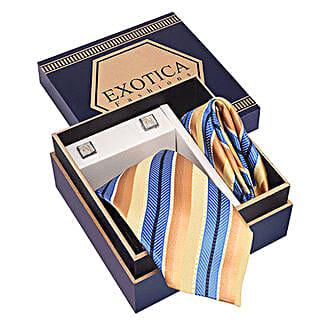 Golden N Blue Tie Set: Accessories for Him