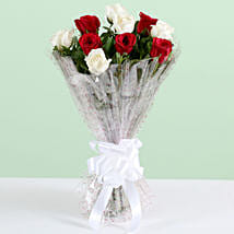 Graceful 10 White & Red Roses Bouquet: Get Well Soon Flowers