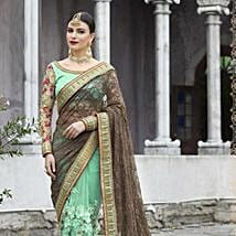 Green Heavy Embroidered Brasso Saree: Apparel Gifts