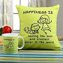 Happiness Mug N Cushion Combo: Rakhi Gifts to Moga