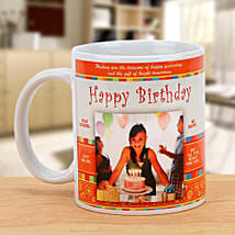 Happy Bday Personalized Mug: Send Gold Rakhi