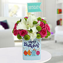 Happy Birthday Mixed Flowers Arrangement: Fresh Flower Arrangement