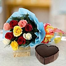 Heart Cake with Roses: Send Flowers & Cakes to Noida