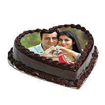 Heart Shape Photo Chocolate Cake: Send Personalised Gifts to Varanasi