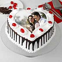 Heart Shaped Black Forest Photo Cake: Photo cakes for anniversary