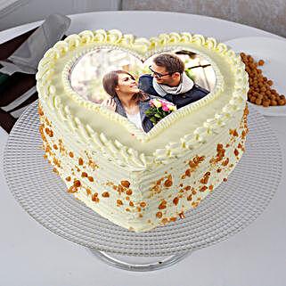 Heart Shaped Butterscotch Photo Cake: Heart Shaped Cakes