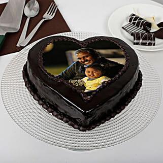 Heart Shaped Chocolate Truffle Photo Cake for Dad: Truffle Cakes