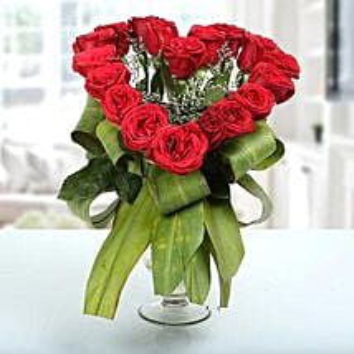 Heartshaped Vase Arrangement: Gifts for Propose Day