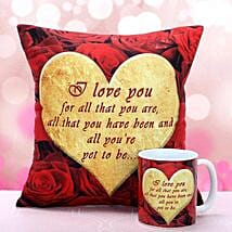 I Love You Cushion n Mug: Propose Day Gifts
