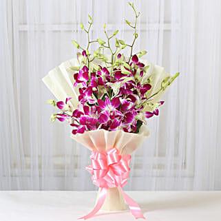 Impressive Orchids Bouquet: Send Karwa Chauth Gifts to Delhi