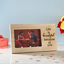 Life is Beautiful Engraved Wooden Frame: Valentine Personalised Photo Frames