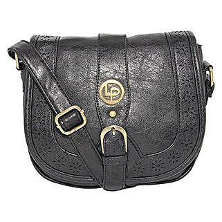 Lino Perros Black Laser Cut Sling Bag: Sling Bags for Women