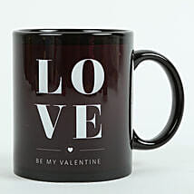Love Ceramic Black Mug: Send Anniversary Gifts to Coimbatore
