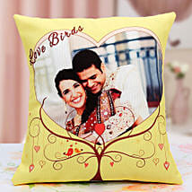 Lovebirds Personalized Cushion: Send Gifts to Jajpur