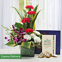 Lovely Flowers For Bro: Send Rakhi With Sweets to Agra