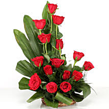Lovely Red Roses Basket Arrangement: Flowers for Her