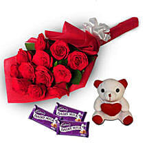 Loving Hug: Flowers & Teddy Bears for Anniversary