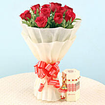 Lumba & Pearl Rakhi With Red Roses Bouquet: Send Rakhi with Flowers