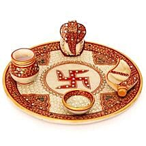 Marble Puja Thali: Send Handicraft Gifts for Her