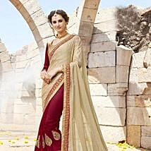 Maroon and Beige Embroidered Saree: Apparel Gifts