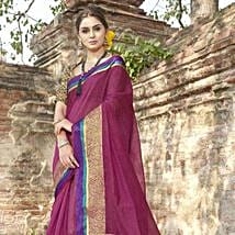 Marvelous Magenta Blended Cotton Saree: Apparel Gifts