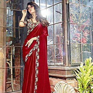 Marvelous Maroon Georgette Saree: Saree Gifts