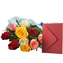 Mix Roses N Greeting Card: Diwali Gifts to Meerut