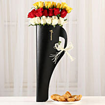 Mixed Roses In Black Sleeve & Half Kg Gujia: Send Flowers & Sweets for Holi
