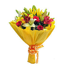 Mixed Roses N Lilies: Send Valentine Flowers to Ambala