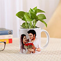 Money Plant In Personalised Mug-White: Personalised Pot plants