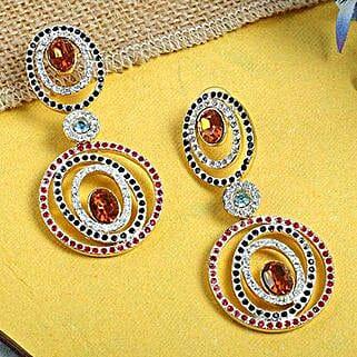 Multicolor Circular Earrings: Karwa Chauth Gifts to Bhubaneshwar