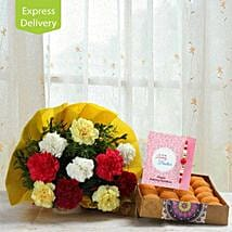 Noble Carnations With Rakhi: Send Rakhi With Sweets to Rajkot