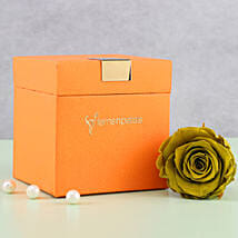 Olive Green Forever Rose in Orange Box: Flowers for Parents