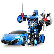 One Button Transforming Car Blue: Remote Control Toys