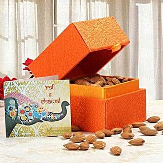 Orange Box of Almonds: Send Bhai Dooj Gifts to Faridabad