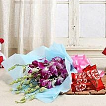 Orchids with Chocolates: Send Flowers & Chocolates for Wedding