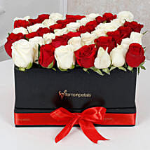 Peaceful Whites N Reds Arrangement: Christmas Flowers