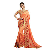 Peach Georgette Embroidered Saree: Saree Gifts