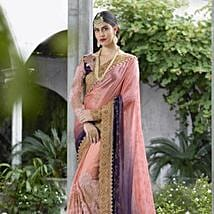 Peachy Affair Wedding Embroidered Satin Saree: Apparel Gifts