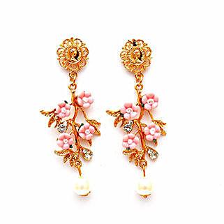 Pearl Drop Pink Flower Earrings: Earrings