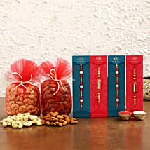 Pearl & Ethnic Rakhi Set With Dry Fruits: Rakhi Gifts