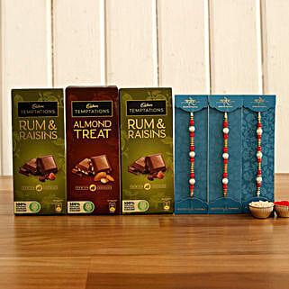Pearl Rakhi Set With Temptation Chocolates: