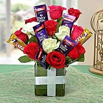 Perfect Choco Flower Arrangement: Womens Day Flowers & Chocolates