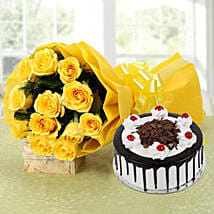 Yellow Roses Bouquet & Black Forest Cake: Good Luck Gifts