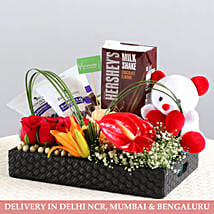 Perfect Gift Hamper- Exotic Flowers & Goodies: Gift Hampers for New Born