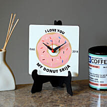 Personalised Donut MDF Table Clock: Personalised Gifts for Her