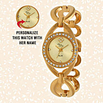 Personalised Graceful Golden Watch: Anniversary Personalised Gifts